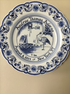 Personalized baby gift delft birth plate amazing to buy delft birth plate negle Gallery