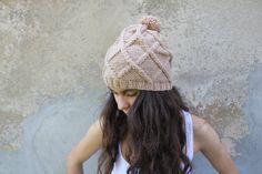 Hand knit slouchy beanie, pom pom hat, Beige beanie, Beige hat, unisex knitted slouch hat, adult size, womens winter hat, mens winter hat