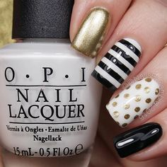 Black white and gold nails #nails