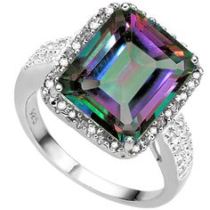 BEAUTIFUL 5.48 CT MYSTIC TOPAZ DOUBLE WHITE DIAMOND 0.925 STERLING SILVER W/ PLATINUM RING C511