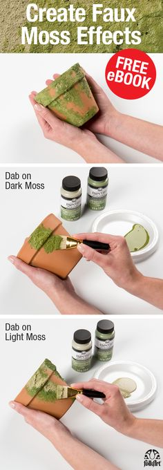 Free eBook on New FolkArt Painted Finishes in Moss, Concrete, and Rust! Trends to Try: Faux Finishes for Home Decor & More! Learn how to create faux moss effects. A perfect Garden craft!