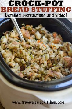 French Delicacies Essentials - Some Uncomplicated Strategies For Newbies Free Up Oven Space On The Holidays With This Tried And True Traditional Bread Stuffing Made In The Slow Cooker. The Best Crock Pot Stuffing Recipe # Crock Pot Bread, Slow Cooker Bread, Slow Cooker Recipes, Gourmet Recipes, Bread Recipes, Crockpot Recipes, Cooking Recipes, Healthy Recipes, Fun Recipes