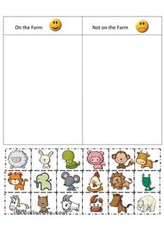Color the animals, cut them out, paste them in the correct category of lives on a farm or does not live on a farm - ESL worksheets