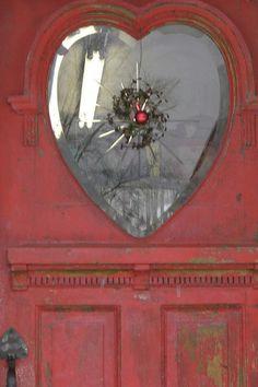 Red Door - Detail, Rochester, Vermont - - This lovely window graces a door to a pottery shop in Rochester, Vermonts, seen elsewhere in my photostream. Cool Doors, Unique Doors, Portal, Yoga Studio Design, When One Door Closes, Door Detail, I Love Heart, My Funny Valentine, Door Knockers
