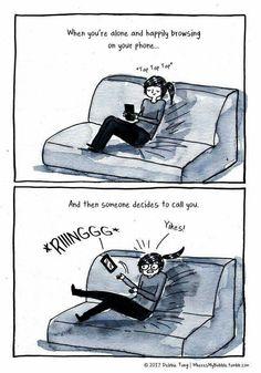 saking sukanya sendiri, kamu merasa was-was kalau ada yang telfon ke po Introvert Love, Introvert Quotes, Introvert Problems, Intj, Funny Memes, Hilarious, Videos Funny, Funny Quotes, Nerd
