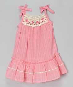 This Little Cotton Dress Coral Pink Floral Crochet Ella Dress - Infant & Toddler by Little Cotton Dress is perfect! #zulilyfinds