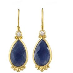 Women's Yellow Gold Earring by GURHAN Elements Sapphire Earrings (29.300 HRK) ❤ liked on Polyvore featuring jewelry, earrings, yellow gold earrings, 24k earrings, 24 karat gold earrings, sapphire jewelry and two sided earrings