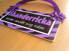 enter under my rules #personalized name purple and black #zebraprint girls teenagers room door sign  by kasefazem, $16.99