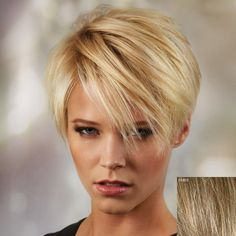 Ultrashort Side Bang Fluffy Human Hair Wig For Women