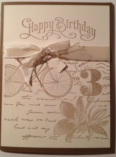CAS by Tami: Postage Due and Perfectly Penned. All supplies from Stampin' Up! 40th Birthday Cards, Handmade Birthday Cards, Happy Birthday, Scrapbooking, Scrapbook Cards, Postcard Postage, Stamping Up Cards, Masculine Cards, Creative Cards