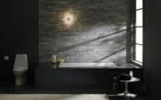 33 dunkle Badezimmer Design Ideen - bad einrichtung schwarze badewanne minimalistisch stilvoll modern bathroom minimalistic look