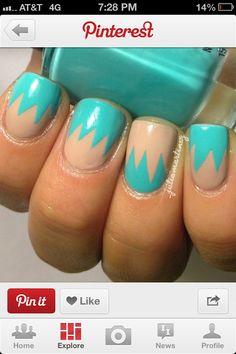 Teal and tan summer nails