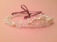 Freshwater Pearl Blossom Bridal Headband Halo by AvaGraceBridal