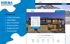 NIBHA - property PSD Template Real Estate Templates, Html Templates, Wordpress Template, Web Design Software, Google Fonts, Change Image, Grid System, Real Estate Agency, Property Listing