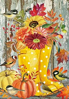Fall Canvas Painting, Canvas Painting Tutorials, Autumn Painting, Autumn Art, Tole Painting, Canvas Art, Fall Paintings, Fall Garden Flag, Autumn Garden