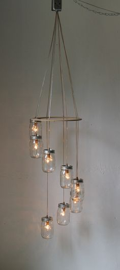 Spiral Carousel Mason Jar Chandelier Mason Jar Lighting Swag Lamp  [ Wainscotingamerica.com ] #DIY #wainscoting #design