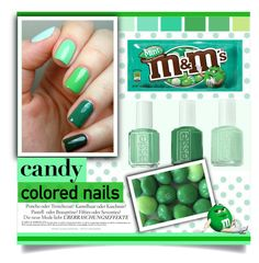 """Mint M&M Nails"" by carlavogel ❤ liked on Polyvore featuring beauty, Essie, Melissa, nails, BeautyTrend and candy"