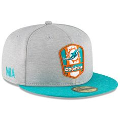 41d9d5ed98e Miami Dolphins New Era 2018 NFL Sideline Road Official Fitted Hat – Heather  Gray Aqua