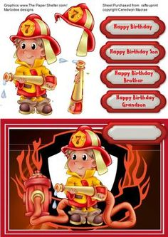 The Firemans mate on Craftsuprint designed by Ceredwyn Macrae - A lovely card front to make and give to any little boy on his birthday the fire mans mate a cute card any boy would love to receive has four greeting tags and a blank one for you to choose the greeting - Now available for download!