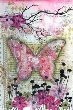 love the mixed media on this, although I would choose a verse for around the branches and make the butterfly off center. Art journal page with collage background strips of chiyogami pagers Scrap FX field of flowers silhouette and harlequin stamp Mixed Media Journal, Mixed Media Canvas, Mixed Media Collage, Mixed Media Artwork, Art Journal Pages, Art Journals, Junk Journal, Art Journal Backgrounds, Journal Covers