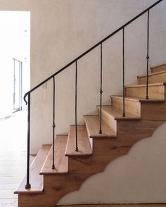 A stairway romance - Inspiration from Black Stair Railing, Wrought Iron Stair Railing, Staircase Railings, Wood Stairs, Stairways, Hudson Homes, New House Plans, Architecture Details, Interior Decorating