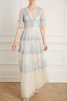 New Season Midsummer Lace Gown in Champagne/Blue Sequin Midi Dress, Sequin Gown, Lace Gowns, Tea Length Dresses, Dresses With Sleeves, Embroidered Lace, Embellished Dress, The Dress, Floral Lace