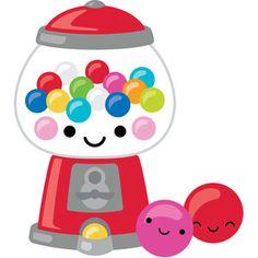Silhouette Design Store: Gumball Machine - So Much Pun Kawaii Disney, Griffonnages Kawaii, Kawaii Doodles, Cute Kawaii Drawings, Cute Doodles, Art Drawings For Kids, Easy Drawings, Simple Artwork, Dibujos Cute