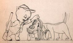 Pencil drawing for the lobby card | Daffy's Duck Hunt (1949), directed by Robert McKimson | Tags: Porky Pig, Daffy Duck