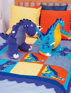 Free knitting patterns for Tyrannosaurus, Stegosaurus and Dinosaur Blanket