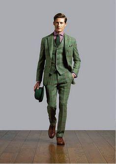 Parisian Gentleman : Photo - Dress World for Men Men's Fashion, Daily Fashion, Tweed Suits, Mens Suits, Dapper Suits, Costume Vert, Suit Shoes, Green Suit, Style Outfits