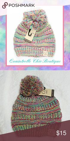 KIDS C.C BEANIE Adorn the cutest member of your family in this adorable four-tone knit pom beanie.  - 100% Acrylic Quaintrelle Chic Boutique Accessories Hats