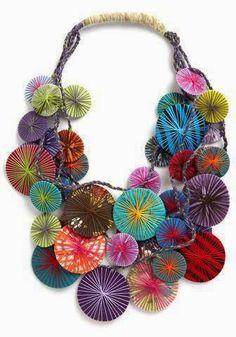 "Color Breakdown: Diameters Are a Girl's Best Friend Necklace - thread. ""diameters are a girl's best friend"" by karma living on modcloth.Halloween wreath, Fall Wreaths for Front Door, Halloween wreaths for front do. Textile Jewelry, Fabric Jewelry, Jewelry Art, Jewelry Design, Gold Jewellery, Jewelry Ideas, Diamond Jewelry, Jewelry Accessories, Diy Schmuck"