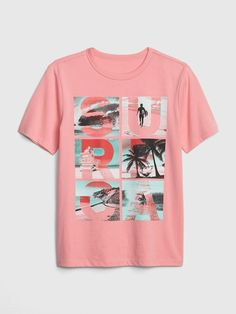Gap Boys' Kids Graphic Short Sleeve T-Shirt Coral Frost Gap Sale, Cartoon T Shirts, Baby Kids Clothes, Gap Kids, Boys Shirts, Graphic Tees, Short Sleeves, Mens Tops, How To Wear