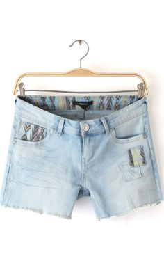 Plus size print denim shorts A053