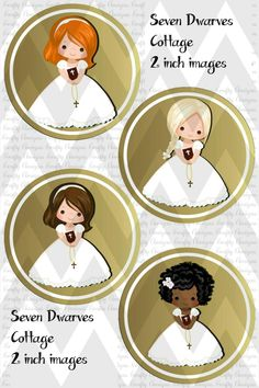 Primera comunión niñas 2 pulgadas Cupcake Toppers archivo