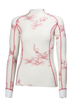 Helly Hansen Womens Warm Freeze 1/2 Zip Baselayer L/S Top: White/Pink Glow Print