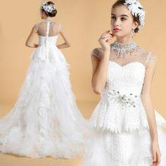 White Lace Organza High Low Illusion Peplum Wedding Bridal Party Dress SKU-166195