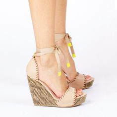 patterned nude wedges with a touch of neon