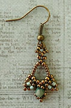 "Just a quick sample of an earring that I made from Cynthia's ""Tiny Treasures Earrings"" pattern."