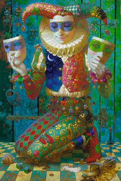 "Victor Nizovtsev oil painting ""Harlequin with Lock and Key"" Victor Nizovtsev, Costume Carnaval, Send In The Clowns, Arte Disney, Surreal Art, Illustrators, Fantasy Art, Fairy Tales, Pop Art"
