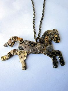 Steampunk Horse by LikeClockwork8 on Etsy, $35.00/ Glossier Look, Cogs, Clear Resin, Wind Chimes, Steampunk, Horses, Jewellery, Etsy