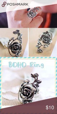 Elegant Vintage Black Rose  Flower Ring Elegant Vintage Black Rose Flower Ring. Fashion Shape\patternRose MaterialMetal.  Size 6 & size 8 Available Jewelry Rings