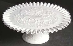 Fenton - Fenton Silver Crest Spanish Lace Round Cake Stand - Lace Design On Milk Glass, Crystal Edge Fenton Lamps, Fenton Glassware, Fenton Milk Glass, Milk Glass Cake Stand, Pedestal Cake Stand, Silver Cake Stand, Cakes Plus, Vintage Cake Stands, Take The Cake