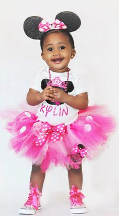 Minnie Mouse Birthday Outfit Personalized ANY AGE and name! Perfect Minnie Mouse First Birthday Outfit, Minnie Mouse 2nd Birthday Outfit and up! Pink and Black Minnie Mouse Tutu Outfit #minniemousebirthdayoutfit #minniemouseonesie