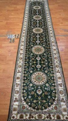 "2'6""x12' Runner Hand-knotted 200 kpsi Silk Oriental Persian Tabriz Rug 9468"