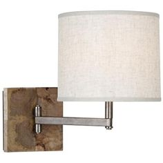 "Robert Abbey Oliver Mango Wood 11 1/2"" Swing Arm Wall Lamp 2- master over nightstands"