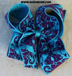 Turquoise and Purple Velvet Damask Hair Bow www.gugonline.com $12.95