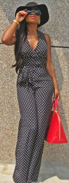polka dot jumpsuit black hat red handbag. Street elegant gorgeous. women fashion outfit clothing style apparel @roressclothes closet ideas