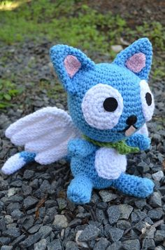 Happy Fairy Tail Cat Crochet Pattern Amigurumi by amiamour on Etsy