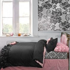 Wake Up Frankie : Teen Bedding, Pink Bedding, Dorm Bedding, Teen Comforters Teen Bedding, Pink Bedding, Black Bedding, Teen Comforters, Parisian Room, Paris Bedroom, Pretty Bedroom, Dream Bedroom, Pink Bedrooms